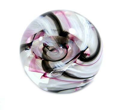 Vintage Caithness Ribbons white pink black heavy glass paperweight