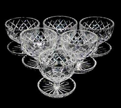Vintage set of 6 quality sparkly crystal sundae sorbet bowls with built in sauce