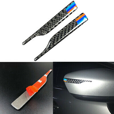2X Carbon Fiber M Style Rearview Mirror Anti-Rub Strips Protector For BMW VW SUV