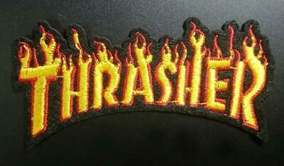 Thrasher Flames Iron On Embroidered Patch Skate Magazine Ride Board