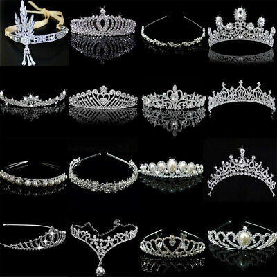 Retro Vintage Crystal Bridal Wedding Jewelry Women Girls Crown Tiara Headband