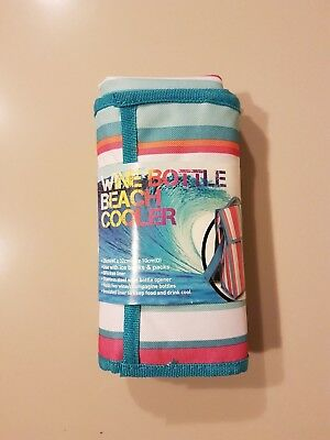 Brand New Wine Bottle Beach Cooler, Colourful Striped Design