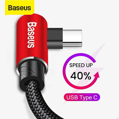 Baseus USB Type C Elbow Charger Cable Game Fast Charging Lead for Samsung Huawei