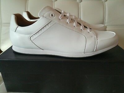 New Hugo Boss White Leather Lace Up Shoes Sneakers Mens Size EU 45/ US 12 $250!