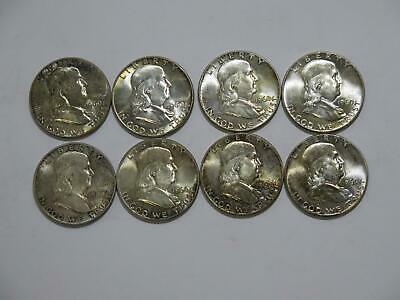 8- Franklin 1960 Half Dollars 50 Cents 90% Silver Rainbow Toned Unc Coin Lot
