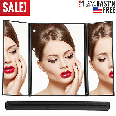 Tri-Fold Makeup Mirror Cosmetic Vanity Mirror 8 LED Lights w/90°Adjustable Stand