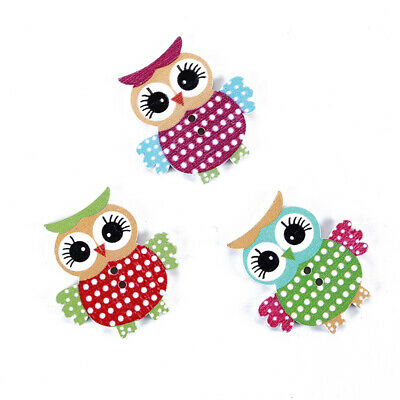 50X Cartoon Wooden Mixed Color Owl Animal Fit Sewing Decoration Wooden Buttons B