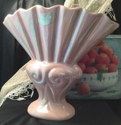 Vintage Art Deco 30s Collectable Australian Pottery Pink Lustre Ware Fluted Vase