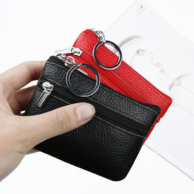Women Genuine Real Leather Small Coin Card Key Ring Wallet Pouch Mini Zip Purse