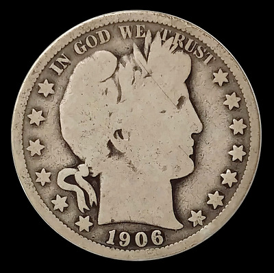 1906-O Barber Half Dollar Silver Coin New Orleans Mint Circulated ( BH08 )