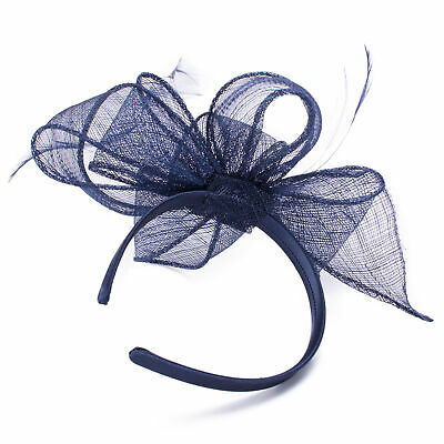 Women Navy Blue Feather Fascinator Royal Ascot Derby Great Gastby Headpiece T325