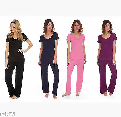 Ladies Soft Touch T Shirt & Pants Pyjama Set, Designer PJs Nightwear, Size 8-22