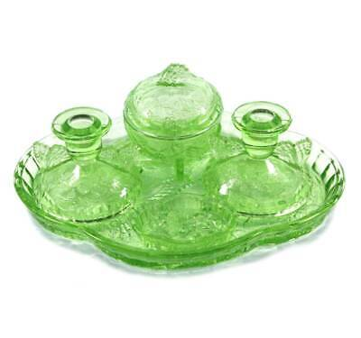 Vintage Sowerby Butterfly Green Depression Glass Dressing Table Set Candlesticks