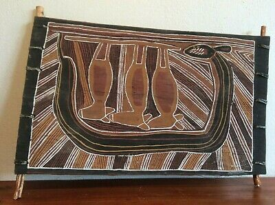 Vintage Aboriginal ochre bark painting of flying foxes and rainbow serpent