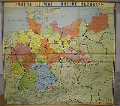 Schulwandkarte Wall Map Map Germany after 1945 W Germany GDR East 168x155 ~ 1955