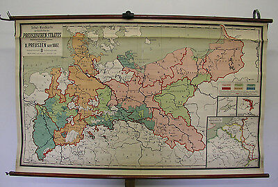 Beautiful Old Schulwandkarte Kingdom Prussia 1807-1910 167x102 ~ 1930 Vintage