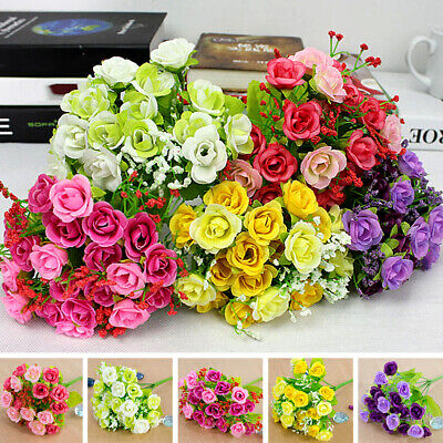 1 Bouquet 21 Head Artifical Plastic Silk Rose Flower Wedding Party Home Decor