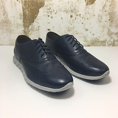 70338f5342 Cole Haan Womens ZeroGrand Leather Wingtip Oxford Shoes Blue Size 11 B $250