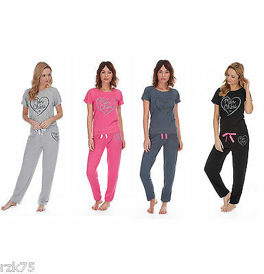 Ladies Short Sleeve Jersey Top & Pants Pyjama Set PJs Loungewear, Size 8-22, B88