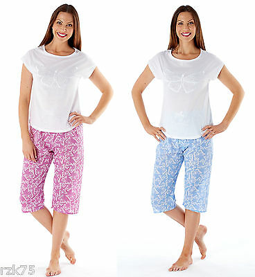Ladies Butterfly Pyjama Set Jersey Top 3/4 Pants, Blue Pink, Size 10-22, RZK420