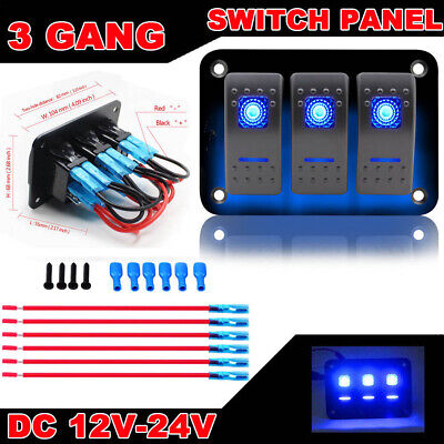 3 Gang Dual 12V/24V LED Light Circuit Rocker Switch Panel + Label for Car Boat