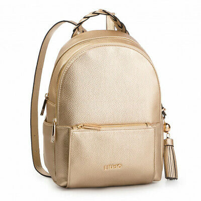 d7f07dd881 Borsa Liu Jo Zaino Arizona N19264 Bag Backpack Oro Gold 2 Zip Saldi 2019  Nuovo