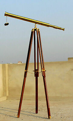 Nautical Floor Standing Solid Brass Vintage Scope With Wood Tripod Collectible