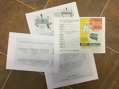 ARCOY DOVETAILER Sales Booklet   Inc. Cutter Sheet Info.  A4 Size Folded To A5