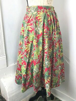 29031c5d3 STUNNING VINTAGE FULL CIRCLE COTTON SKIRT 1950s RED/GREEN FLORAL/LEAF  PAISLEY S