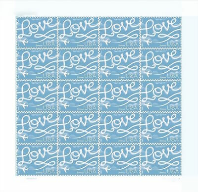 USPS Forever Stamps Sheet/20 LOVE Skywriting Stamps First Class Postage
