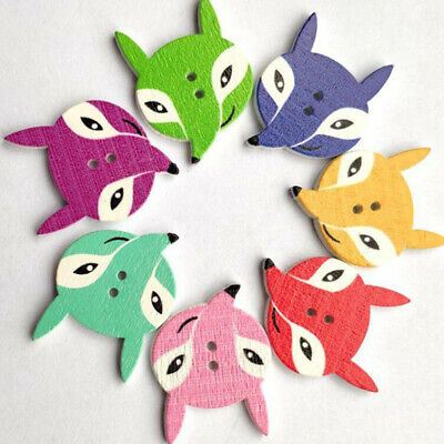 50Pcs Wooden Button Decorative Craft Animal Clothing Scrapbooking Sewing Tool 6A