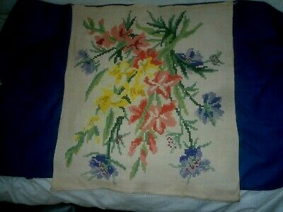 Vintage Hand Cross Stitched Panel For Fire Screen Or Wall Hanging