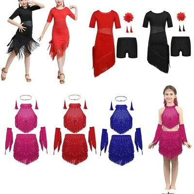 Girls Sequins Fancy Dress Costume Kids Rumba Tango Latin Salsa Dancing Outfits