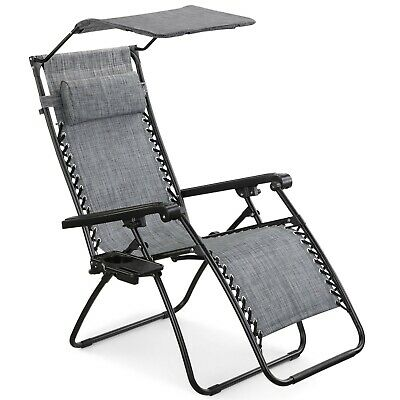 VonHaus Textoline Zero Gravity Chair Canopy Sun Lounger Garden Patio Outdoor