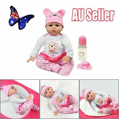 "22"" Newborn Doll Real Lifelike Silicone Reborn Baby Dolls Toddler Girl Gift JO"