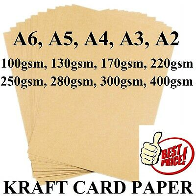 A2 A3 A4 A5 A6 100Gsm -400Gsm Brown Kraft Card Craft Cardboard Tag Printer Paper