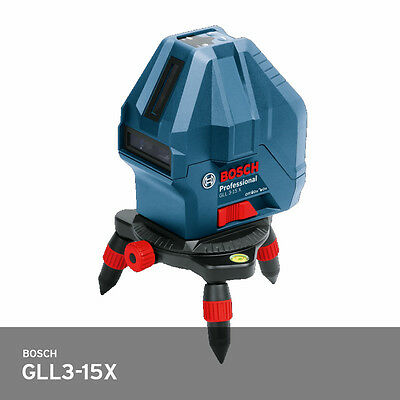 Bosch GLL3-15X Pro 3-Point Self-Levelling Lasers IP54 50ft PPS +/- 2.0mm Fedex