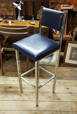 Vintage Retro Chrome Bar Stool Blue Vinyl Padded Seat and Back 41 inch rare