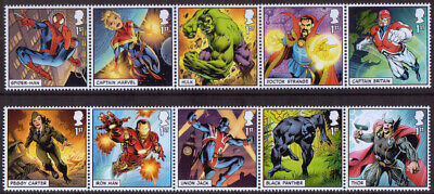 GB 2019 Royal Mail Marvel 1st class stamps u/m mnh x 10 - new