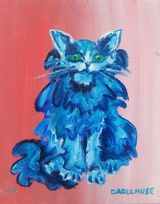 ORIGINAL CAT oil painting FREE SHIPPING 10X8 INCHES 25x20 cm BLUE STRAY CAT