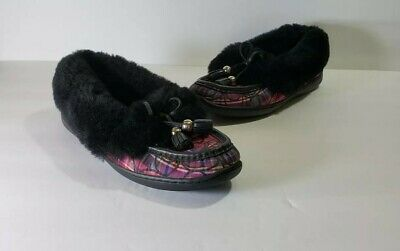 79ec43c3927 Coach Fiona moccasins slippers black signature fabric shearling fur bow 8.5  B