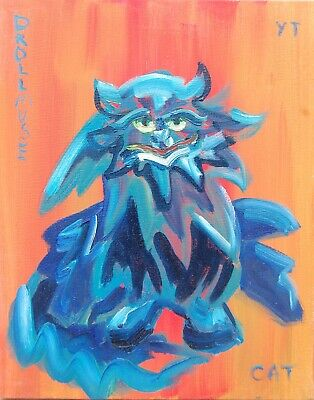 ORIGINAL CAT oil painting FREE SHIPPING 10X8 INCHES 25x20 cm MEPHISTO CAT