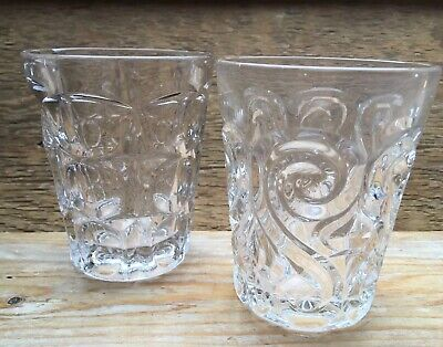 Pair Of Heavy Cut Glass Drinking Glasses/Tumblers/Vintage/Antique/Old Glass