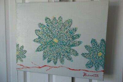 Pop Art Flowers,Wall Art Oil Painting,Fine Art,Handmade Gift, By Bennett