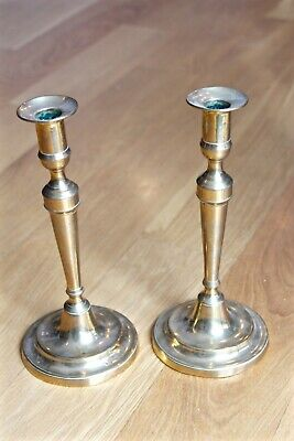Pair Antique Brass Candlesticks Federal Period 1795-1830 Tall 10 1/2 In Push Ups