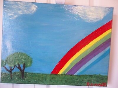 """Over the rainbow,Oil Painting,Landscape art, 16"""" x 12"""",hand painted"""