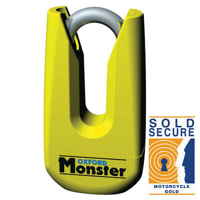 Oxford Monster Sold Secure Thatcham Motorcycle Disc Lock 11MM Shackle - Yellow