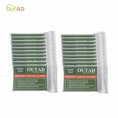 OUTAD 20 Pcs Outdoor Waterproof Emergency Survival Thermal Blanket First  RV