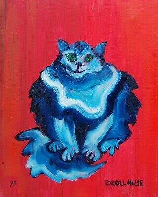 ORIGINAL CAT oil painting FREE SHIPPING 10X8 INCHES 25x20 cm CAT'S SMILE