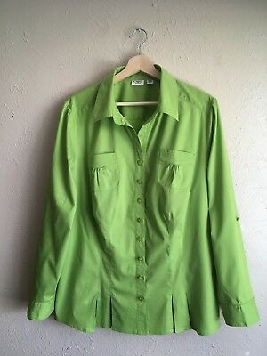 CATO Sz 18-20W or 2X Plus Size Women's Blouse Shirt Top Roll Up Long Sleeve Lime